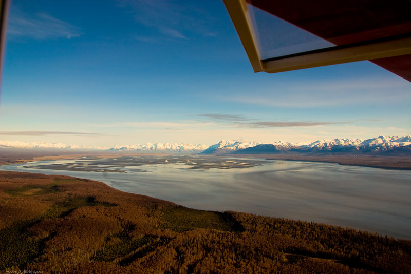 Knik Arm of Cook Inlet looking towards Palmer, Alaska.