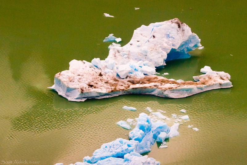 Icebergs in Strandline Lake, Alaska.