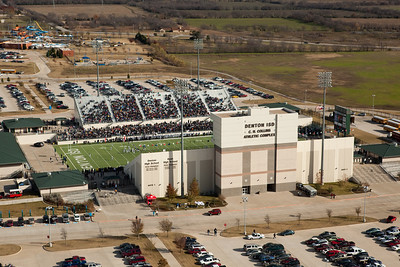 Aerial photo of C.H. Collins Stadium December 6, 2009 as Denton Ryan faces Denton Guyer. Photo by Jonny Carroll