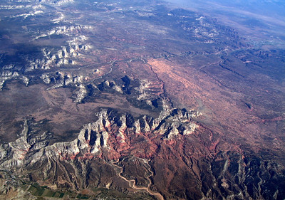 Kanab Creek, Sand Hills & White Cliffs, Utah. Fourmile Hollow in center left,  Orderville in left foreground.  8 Oct 2009.