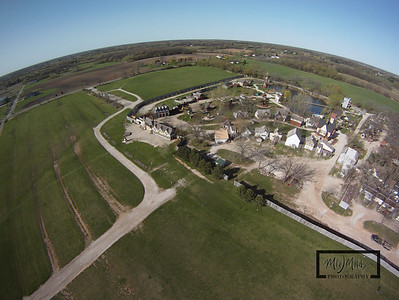 Getting ready for summer, the Bristol Renaissance Faire is located off I-94 near the Illinois / Wisconsin Border. This Aerial image was captured by suspending a GoPro HD Hero camera from a Kite.  © Copyright m2 Photography - Michael J. Mikkelson 2009. All Rights Reserved. Images can not be used without permission.