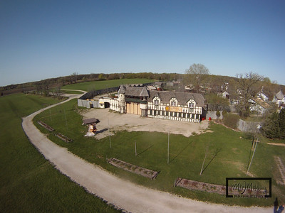 The entrance building to the Bristol Renaissance Faire, which is located off I-94 near the Illinois / Wisconsin Border. This Aerial image was captured by suspending a GoPro HD Hero camera from a Kite.  © Copyright m2 Photography - Michael J. Mikkelson 2009. All Rights Reserved. Images can not be used without permission.
