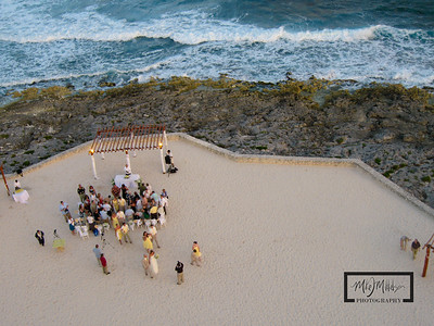 Gran Bahia Akumal Kite Aerial Photography Photos overlooking wedding trellis and ceremony.  © Copyright m2 Photography - Michael J. Mikkelson 2009. All Rights Reserved. Images can not be used without permission.