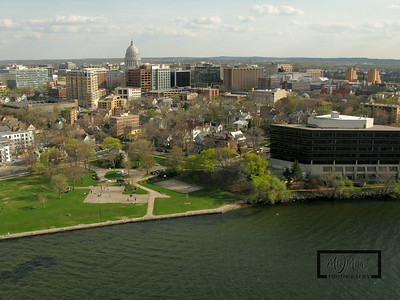 Aerial shot of Madison looking South from just off James Madison Park on Lake Mendota.  Capitol in the background on the isthmus.  © Copyright m2 Photography - Michael J. Mikkelson 2009. All Rights Reserved. Images can not be used without permission.