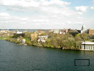 Aerial shot of Madison looking S from just off the Edgewater on Lake Mendota.  Madison Isthmus, the Lifesaving Station, and the Capitol  © Copyright m2 Photography - Michael J. Mikkelson 2009. All Rights Reserved. Images can not be used without permission.