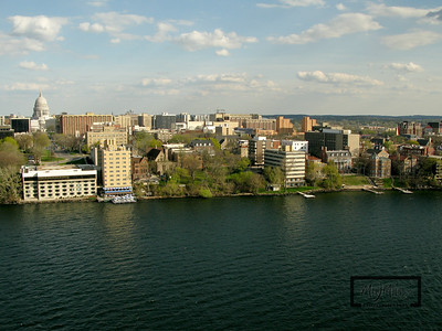 Aerial shot of Madison looking S from just off the Edgewater on Lake Mendota.  Madison Isthmus.  © Copyright m2 Photography - Michael J. Mikkelson 2009. All Rights Reserved. Images can not be used without permission.
