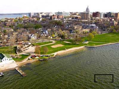 Aerial shot of Madison looking SW from just off James Madison Park on Lake Mendota.  Capitol in the background on the Madison Isthmus.  © Copyright m2 Photography - Michael J. Mikkelson 2009. All Rights Reserved. Images can not be used without permission.