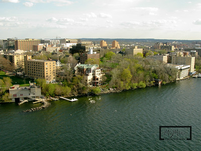 Aerial shot of Madison looking SW from just off James Madison Park on Lake Mendota.  Lifesaving Station.  © Copyright m2 Photography - Michael J. Mikkelson 2009. All Rights Reserved. Images can not be used without permission.