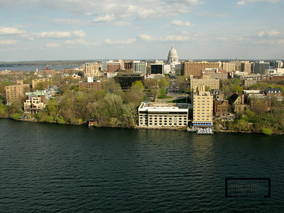 Aerial shot of Madison looking S from just off the Edgewater on Lake Mendota.  This shot looks straight down Wisconsin Avenue towards the State Capitol building.  © Copyright m2 Photography - Michael J. Mikkelson 2009. All Rights Reserved. Images can not be used without permission.