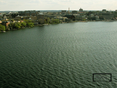 Aerial shot of Madison looking SSW from just off the Edgewater on Lake Mendota.  University Bay and the University of Wisconsin Memorial Union, Hoofers  © Copyright m2 Photography - Michael J. Mikkelson 2009. All Rights Reserved. Images can not be used without permission.
