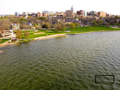Aerial shot of Madison looking SW from just off James Madison Park on Lake Mendota.  Capitol in the background on the isthmus.  © Copyright m2 Photography - Michael J. Mikkelson 2009. All Rights Reserved. Images can not be used without permission.