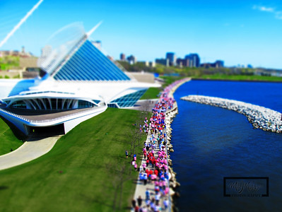 Tried a tilt-shift method using Photoshop CS5 to make the image look like a miniature set.  These aerial images were captured at the Making Strides Against Breast Cancer Walk, which started and ended at the Discovery World in Milwaukee, WI.  You can help by making a donation by clicking here.  © Copyright m2 Photography - Michael J. Mikkelson 2009. All Rights Reserved. Images can not be used without permission.