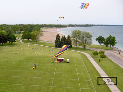 Looking North along Lake Michigan from Kennedy Park in Kenosha, Wisconsin.  Starting to launch the kites on the north end of the park.  © Copyright m2 Photography - Michael J. Mikkelson 2009. All Rights Reserved. Images can not be used without permission.