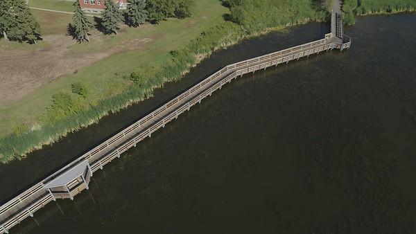 Drone footage of the Telford Lake boardwalk
