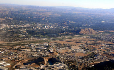 Rubidoux & Crestmore Quarry (foreground), Riverside (background), Santa Ana River, Lake Evans and Mt. Rubidoux in between. 14 Oct 2008