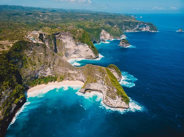 Amazing Kelingking beach on Nusa Penida Island. Aerial drone view