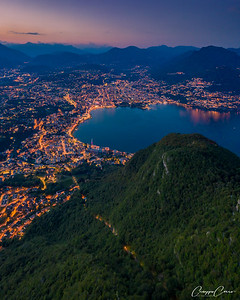 Night Aeriale view over Lugano, Switzerland