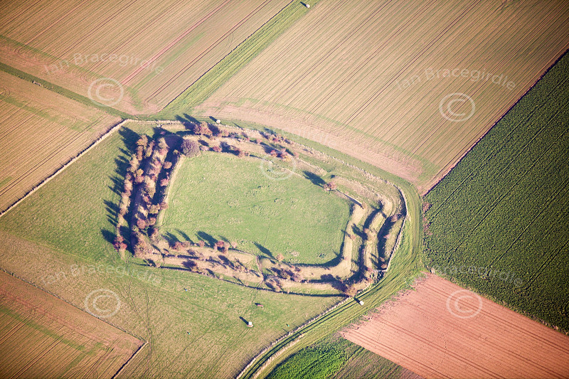 Barkston Hill Fort in Lincolnshire from the air.