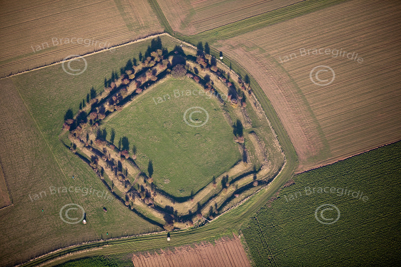 Honington Camp Hill Fort in Lincolnshire from the air.