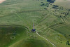 Landsdowne Cherhill Monument and Oldbury Hill Fort in Wiltshire from the air.