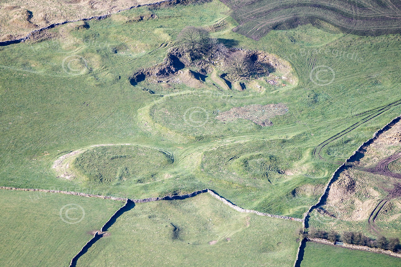 Prehistoric Settlement near Sparrowpit in Derbyshire from the air.