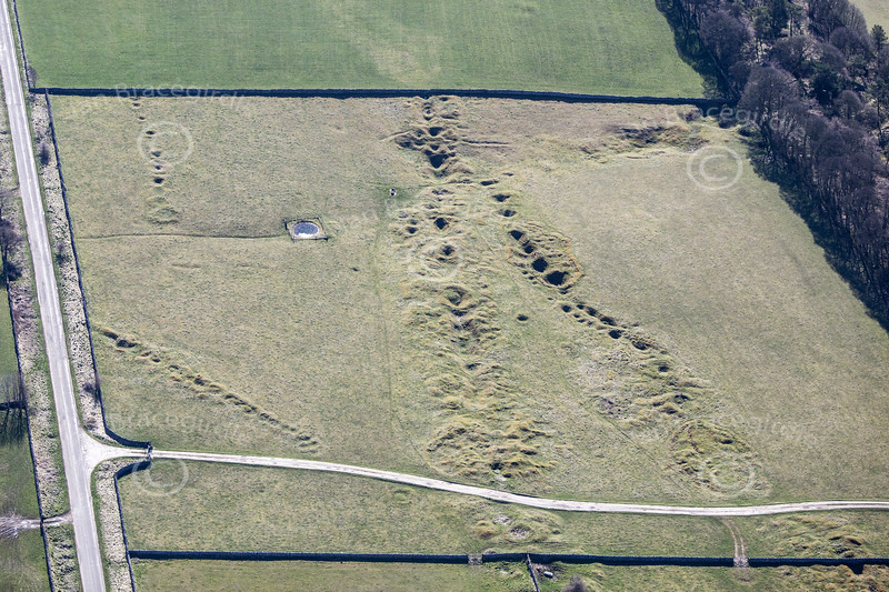 Roman metal mining pits in Derbyshire from the air.