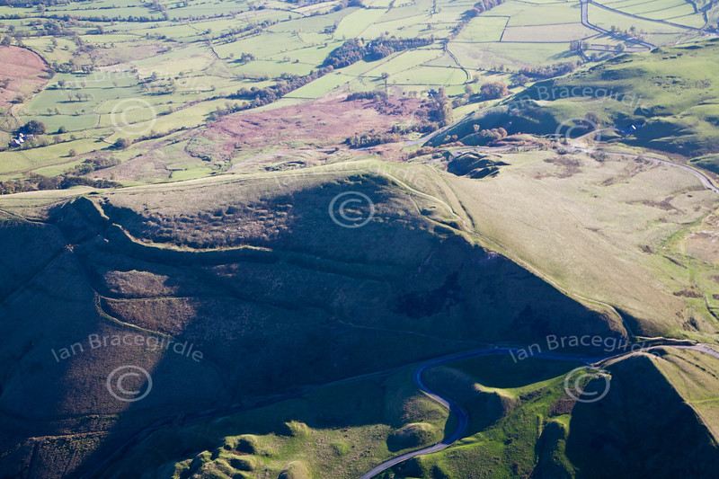 Mam Tor Hill frot from the air.