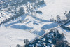 Aerial photo of the Queens Sconce in Newark on Trent, Nottinghamshire after heavy snowfall.