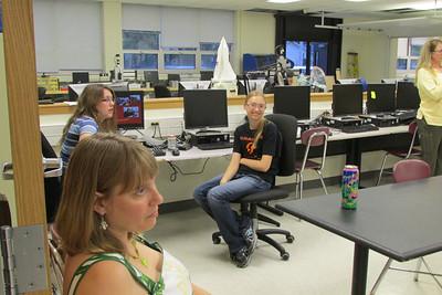 Haley Bates and Megan Czechanski controlling Chairmen's presentation slides