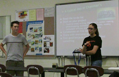 Amanda and Andrew give a Chairmen's presentation to rookies