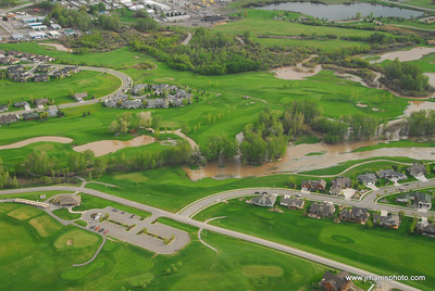 Aerial Photo Bridger Creek Golf Cours & Bozeman Creek area flooding 2008. Jim R Harris Photography Bozeman Montana Photographer