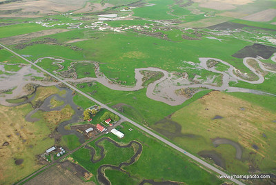 Meleznick Farm aerial photo of East Gallatin River flooding 2008. Jim R Harris Photography Bozeman Montana Photographer