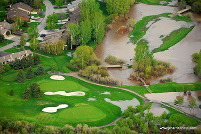 Aerial Photo Riverside Country club flooding 2008. Jim R Harris Photography Bozeman Montana Photographer