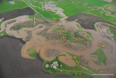 Aerial Photo east Gallatin River flooding 2008. Jim R Harris Photography Bozeman Montana Photographer