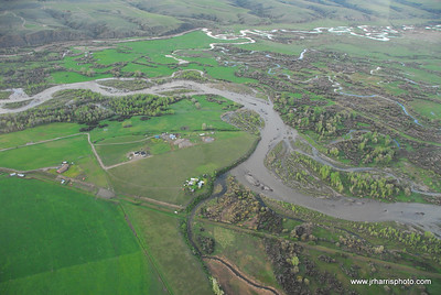 Aerial Photo Gallatin River flooding 2008. Jim R Harris Photography Bozeman Montana Photographer