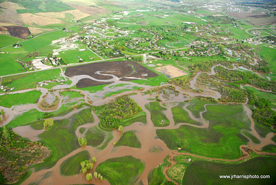 Aerial Photo East Gallatin River/Farm fields flooding 2008. Jim R Harris Photography Bozeman Montana Photographer