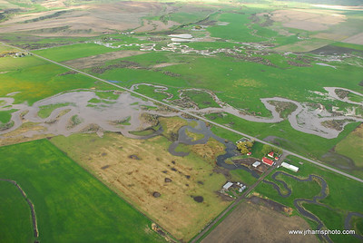 Aerial Photo east Gallatin River flooding 2008 / Meleznivk Farm. Jim R Harris Photography Bozeman Montana Photographer