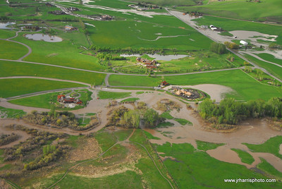 Aerial Photo of homes by east Gallatin River & Old River Farm Bozeman area flooding 2008. Jim R Harris Photography Bozeman Montana Photographer