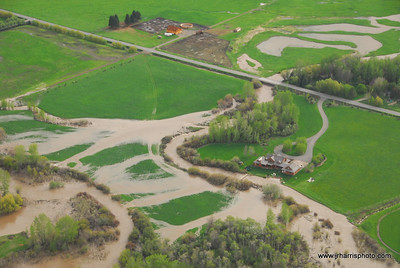 Aerial Photo Old River Farm and homes by east Gallatin River Bozeman area flooding 2008. Jim R Harris Photography Bozeman Montana Photographer