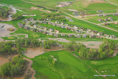 Aerial Photo of homes by east Gallatin River & Bridger Creek Golf Course Bozeman area flooding 2008. Jim R Harris Photography Bozeman Montana Photographer