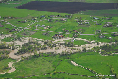 Aerial Photo East Gallatin River / Springhill area flooding 2008. Jim R Harris Photography Bozeman Montana Photographer