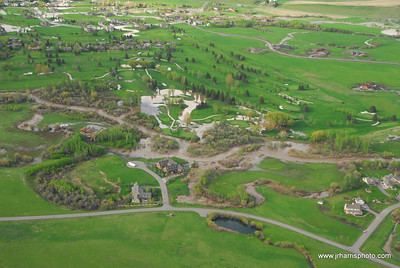 Aerial Photo of homes by east Gallatin River & Riverside Country Club Bozeman area flooding 2008. Jim R Harris Photography Bozeman Montana Photographer