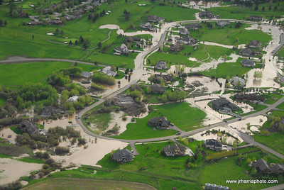 Aerial Photo Stonegate / Manly Meadows / Riverside Country Club Bozeman area flooding 2008. Jim R Harris Photography Bozeman Montana Photographer
