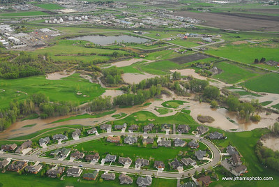 Aerial Photo Bridger Creek Golf Course Bozeman area flooding 2008. Jim R Harris Photography Bozeman Montana Photographer