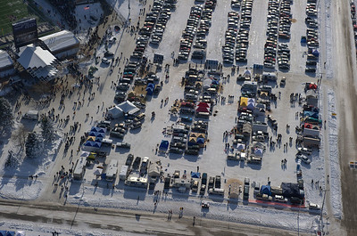 Aerial photo of the MSU Booster tail gate lot on the west end of Bobcat Stadium. Aerial Photography by Jim R Harris Bozeman Montana photographer.