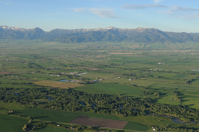 Aerial View of Gallatin River and Valley. Bridger Mountains in the distance. Jim R Harris