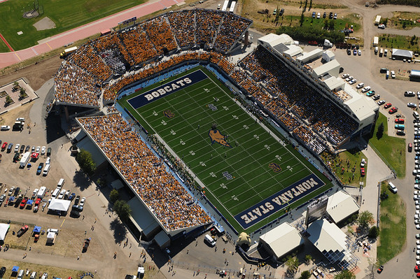 Montana State University Bobcat Stadium First Home Game with new ENDZONE & over 18,200 in attendance! Aerial photo September 10th, 2011 by Jim R Harris Bozeman Montana Photographer