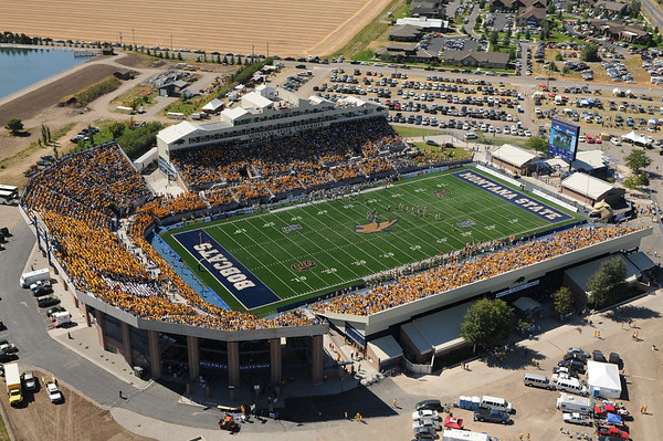 Montana State University Bobcat Stadium First Home Game with new ENDZONE & 18,457 in attendance! Aerial photo September 10th, 2011 by Jim R Harris Bozeman Montana Photographer