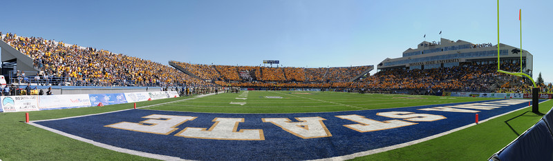 Panoramic image of the first home game in the renovated Bobcat Stadium. Panoramic by Jim R Harris photography 2011