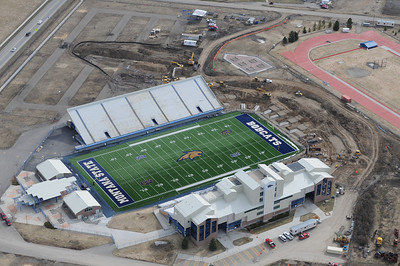Aerial Photo of Montana State University Bobcat Stadium Construction Renovation 2011 of End zone. Aerial Photography by Jim R Harris Bozeman Photographer